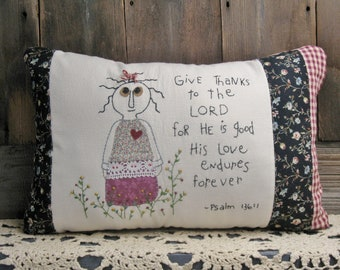 Primitive Stitchery Pillow, Primitive Decor, Christian Decor, His Love Endures Forever