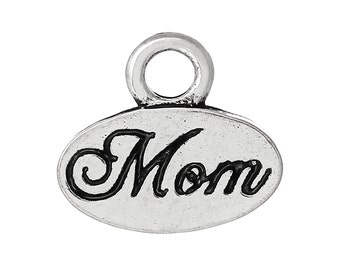 5 Mom Charms, Antique Silver Engraved Charms (1L-221)