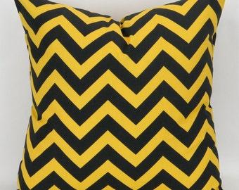 Throw Pillow Cover, Accent Pillow, Cushion, Euro Sham, Decorative Throw -MANY SIZES- Corn Yellow & Black Zigzag, Chevron Premier Prints