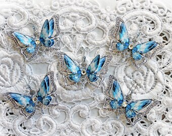 Reneabouquets Tiny Treasures Butterfly Set~ Ice Princess Anna Butterflies Scrapbook Embellishment 3D Butterflies Double Layer