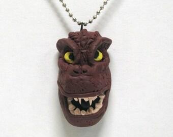 OOAK Handmade Godzilla Pendant Necklace Movie Monster Creature Scary Creepy Halloween