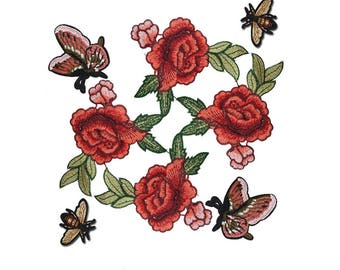 Mix of Embroidered Flowers Patches, Bee Patch, Butterfly Patch for Fashion Crafts