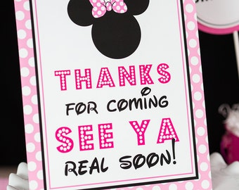 Thanks for Coming See Ya Real Soon Sign - Instant Download Minnie Mouse Party Sign - Minnie Thank You Sign by Printable Studio