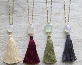 Classic Tassel Necklace (Kiki Tassel Necklace) Festival Boho Hippy Summer Gemstone Gift wrapped