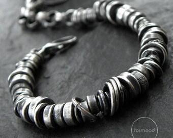 Oxidized sterling silver - bracelet, modern raw oxidized silver bracelet - studioformood bracelet