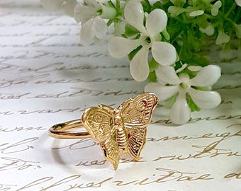 Gold Butterfly Ring, Dainty Gold Ring, Gold Stackable Ring, Small Butterfly Ring, Boho Gold Ring, Butterfly Jewelry, Gold Ring Women, Gift