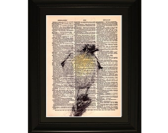 "Spring''.Dictionary Art Print. Vintage Upcycled Antique Book Page. Fits 8""x10"" frame"