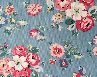 "Cath Kidston Half Yard Cotton Canvas Fabric 56""(145cm) Wide_Forest Bunch Blue DF037"