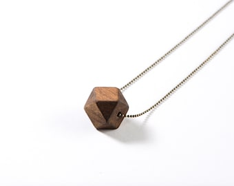 Wood Geometric Necklace - single bead