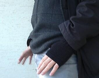 Knitted mens mittenS, mens black gloves, mens gloves, mens fashion, gift  for husband, gift for him, valentines day gift