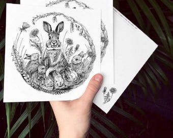 Postkarte, 14,5x14,5, Kaninchen, Ostern, Frühling, 300 g Recyclingpapier