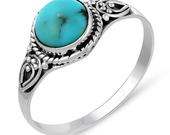 Genuine Gemstone .925 Sterling Silver Turquoise Ring - Hand Made Ring