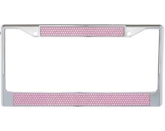 Premium Chrome Light Pink Bling Crystal Diamond License Plate Frame for Car-Truck