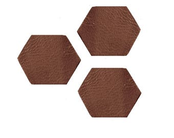 Set of 3 x 0.8 cm style octogonals sequins in brown leather shapes