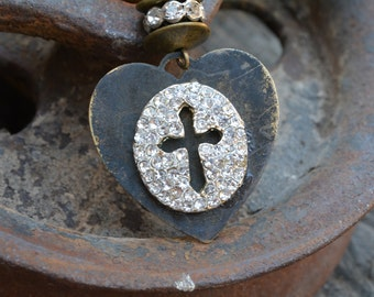 Antiqued Heart Pendant with Rhinestone Cross