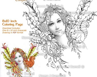 Autumn's Dream grayscale Printable Adult Coloring Sheets and Pages by Norma Burnell Fairy & squirrel coloring page grayscale images to color
