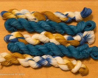 Luke's Going For Gold & Pacific Hand Dyed Merino Sock Yarn Mini Skeins