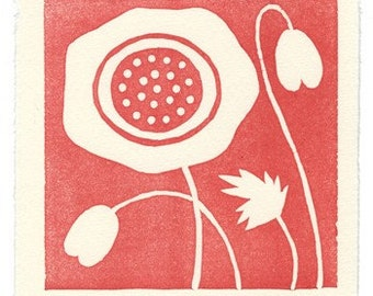 Poppy - linoleum block print