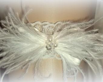 Garter,Wedding Garter, Bridal Garter, Feather Garter, Lace Garter, Brides Garter, Garters, Ivory Garter, White Garter, Gifts for Her