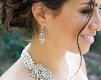 Bridal Pearl Necklace Ivory swarovski Pearls Wedding Pearl Necklace Bridal Rhinestone Brooch Necklace Statement Bridal Necklace BARBARA