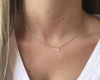 Pavé Initial Necklace, 18k Gold plated, Dainty Necklace, Tiny Initial Necklace