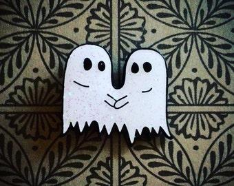 2 Ghosts 1 Sheet Glitter Enamel Pin