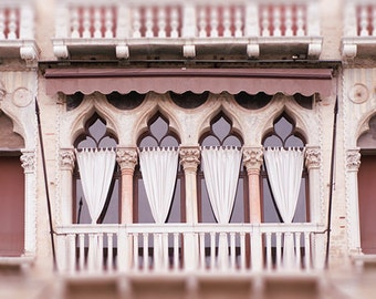 Venice Photography - Gothic Windows on the Grand Canal, Italy Architecture Travel Photograph, Wall Decor
