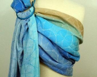 Oscha Orion Skara Brae wrap conversion ring sling, Hemp/cotton/linen  - sand and blue