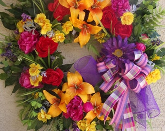 XL Mother's Day wreath, Summer Wreath, Front Door Wreath, Anywhere Wreath, Absolutely Beautiful, Must See!!