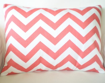 Coral White Chevron Lumbar Pillow Cover, Decorative Throw Pillow, Cushion, Chevron Coral White Zig Zag, Couch Bed, One 12 x 16 or 12 x 18