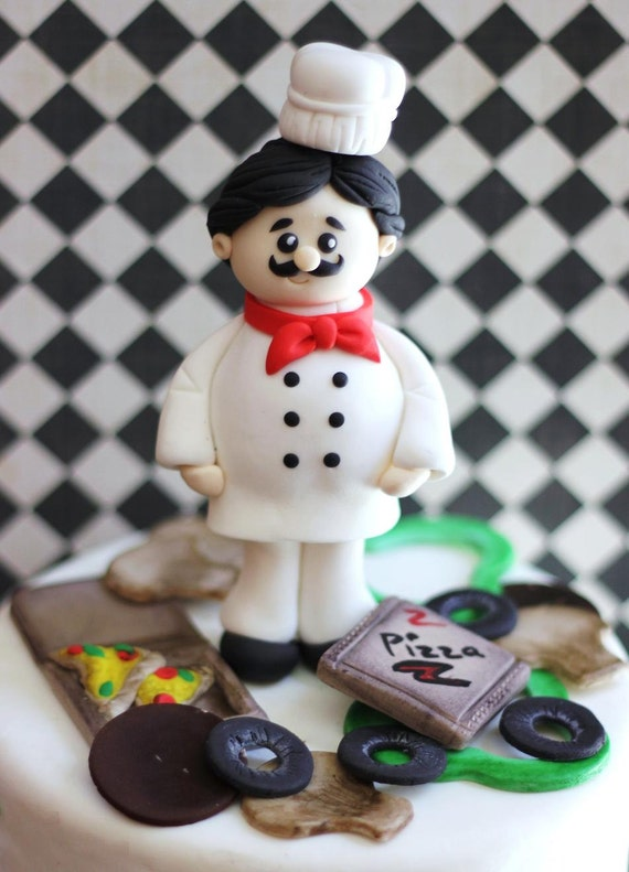 chef wedding cake toppers chef fondant cake topper set this fondant pizza chef cake 12633