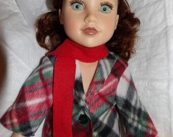 Fleece coat in red & black plaid with red scarf for 18 inch dolls - ag319