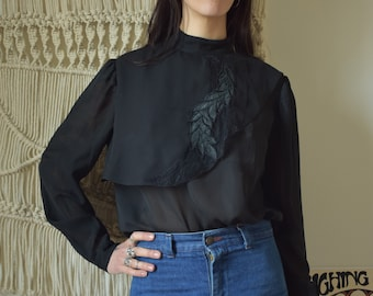 Vintage late 70s black blouse with embroidery size S to M