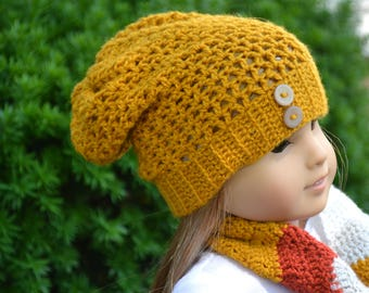 Doll Clothes - Boy or Girl Doll - Doll Beanie for 18 inch - Crocheted Slouch Beanie - Saffron - MADE TO ORDER - fits American Girl