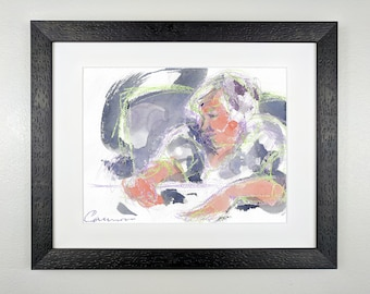 Woman in Pale Green and Blue-gray - Original Framed Watercolor