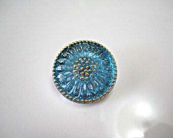 Aqua Daisy Czech Buttons Turquoise Czech Glass Handmade Buttons Blue Daisy Button Turquoise Czech Glass Buttons 22mm (1 pc) 11BV3
