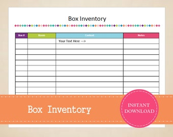Box Inventory - Packing Planner - Moving Planner - Inventory Tracker - Storage Planner - Printable and Editable - INSTANT PDF DOWNLOAD