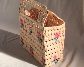 Rattan handbag, raffia bag, structure bag, wicker handbag, woven purse, basket, vintage clutch, floral bag, vintage handbag, festival bag