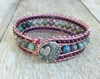 BoHo Beaded Leather Cuff Bracelet, Ruby Apatite and Leather wrap bracelet