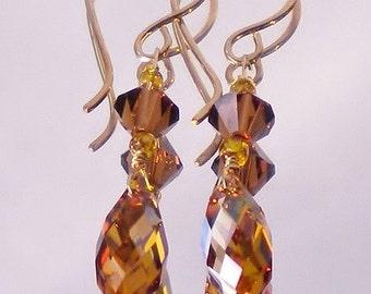 Dark Topaz Swarovski Crystal Earrings Briolettes Mocca Swarovski Crystals