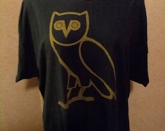 FREE SHIPPING! Owl print refashioned customized off shoulder xxl t shirt