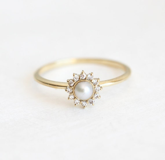 Pearl Wedding Ring: White Pearl Ring With Diamonds Pearl Engagement Ring Diamond