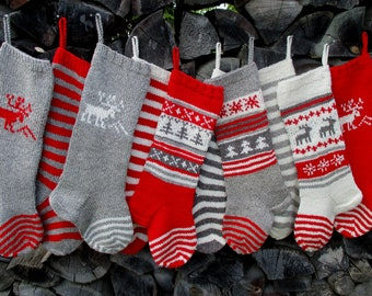 """Knit Christmas Stockings 21-22"""" Personalized Hand knit Wool Grey Red White Deer Stripes Nordic style Christmas decoration"""