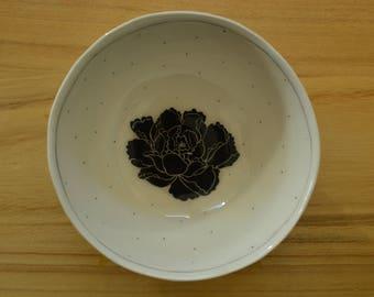 Black flower bowl