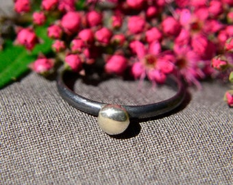 Sterling Silver Ring, Stacking Ring with Silver Pebble