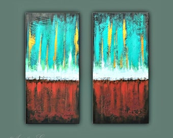 "SALE, Original Painting, Set of 2 Abstract Painting, Modern painting, Contemporary Art, Wall Decor 32""x32"" Ready to Hang"