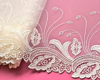 Ivory Lace Trim, Wedding Dress, Bridal Lace Trim, Wedding Sash, Bridal Veil, Lingerie, Mantilla, Forest Bride