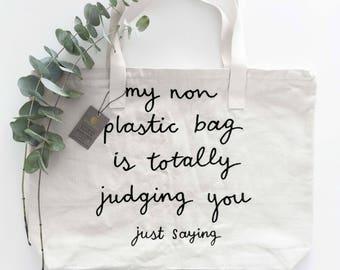 Large Tote Bag NO PLASTICO - 100% Organic Cotton