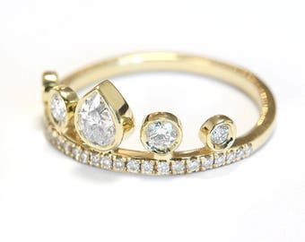 Pear Diamond Unique Crown Engagement Ring, Eternity Ring, Unique Engagement Rings, Pear Diamond Ring, Pear Gold Diamond Crown Ring, 'Meraki'