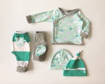 0-3M Baby - Baby Unisex Layette - Five Piece Layette Set - Coming Home Outfit - Baby Shower Gift - Eco Baby Gift - Eco Baby Layette